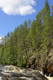 Steep banks of the river rapid in the Finnish Karelia Stock Photos