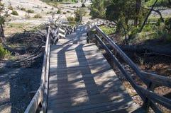 Steep boardwalks of Mammoth Hot Springs Stock Photos