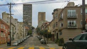Steep city street in San Francisco, USA royalty free stock photos