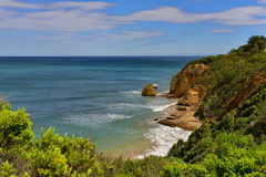 Steep cliff along the coast of Split Point in Victoria Stock Photos