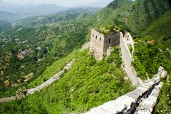 Steep cliff beside the Great Wall Royalty Free Stock Images