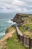 Steep cliff next to Songaksan Mountain on Jeju Island Stock Image