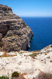 Steep cliff over Mediterranean sea Royalty Free Stock Image