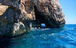 Steep cliff over Mediterranean sea on south part of Malta island Stock Image