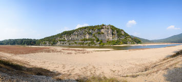 Steep cliff with river in Andong Royalty Free Stock Photo