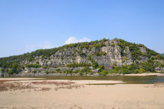 Steep cliff with river in Andong Stock Photos