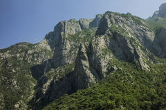 Steep cliffs in the canyon of river Moraca stock photo