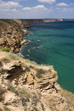 The steep cliffs of cape Kaliakra, Bulgaria Stock Images
