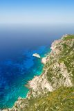 Steep cliffs on the coast of Corfu island Royalty Free Stock Image
