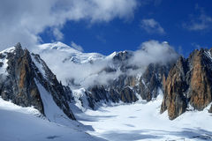 Steep cliffs covered with snow in the Swiss Alps Royalty Free Stock Photos