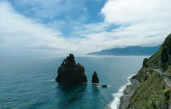 Steep cliffs in Madeira and the Atlantic Ocean royalty free stock images
