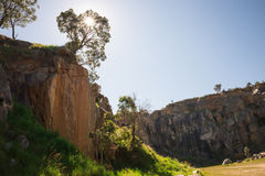 Steep cliffs in mountain quarry in Greenmount National Park. Western Australia royalty free stock photos