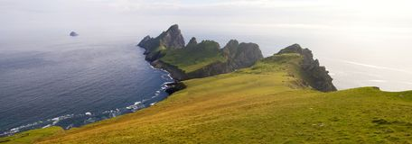 St Kilda archipelago, Outer Hebrides, Scotland. Steep cliffs on the remote island of Hirta St Kilda. The Saint Kilda archipelago contains the largest colony of Royalty Free Stock Images