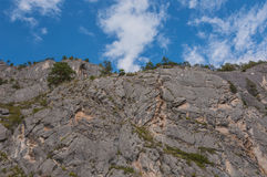 Steep cliffs trees top rocks Royalty Free Stock Photography
