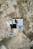 Steep Cliffs Warning Sign Royalty Free Stock Images