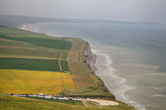 Steep coast of the English Channel. France Stock Images