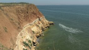 The steep coast of the island. Berezan Borysthenes; Pirezin is an island in the Black Sea at the entrance of the Dnieper-Bug Est. Uary, Ochakiv Raion, Mykolaiv stock video footage