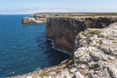 Steep coast in most western point, Sagres, Portugal Royalty Free Stock Photos