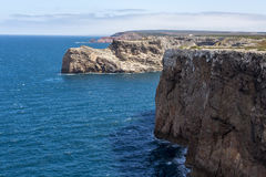 Steep coast in most western point, Sagres, Portugal Stock Photo