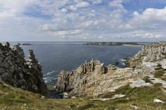 Steep Coast at Pointe de Penn-Hir in Brittany, West France Royalty Free Stock Images