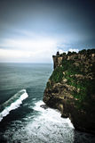 Steep coastal cliffs. With green vegetation towering above the ocean with rolling waves and white breakers Stock Images