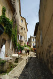 Steep cobbled street at world-famous St Emilion, France Royalty Free Stock Images