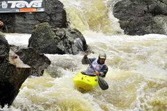 Steep creek race teva games. Extreme whitewater kayaker on course of teva games steep creek whitewater kayak race on homestake creek near vail colorado Stock Photography