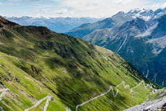 Free Steep Descent Of Mountain Road Stelvio Pass, In Italian Alps Royalty Free Stock Images - 89192789
