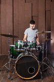 Steep drummer on background Stock Photo