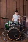 Steep drummer on background Stock Photo