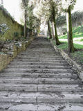 Steep flight of stairs leading up to medieval village of Volterra, Province of Pisa, Tuscany, Italy Stock Photo