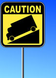 Steep grade or hill sign. Yellow caution steep grade down sign with blue sky background Royalty Free Stock Photos