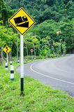 Steep grade hill traffic sign on road. Royalty Free Stock Image