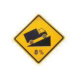 Steep grade hill traffic sign on white background Royalty Free Stock Image