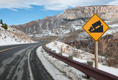 Steep Grade Warning Sign Stock Photo