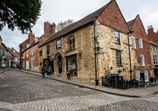Steep Hill in Lincoln royalty free stock images