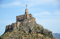 Steep hill of Monteagudo with Islamic castle Stock Images