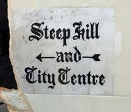 Lincoln City Centre - Steep Hill road sign Stock Photo