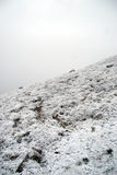Steep hillside with frost and snow Stock Photos