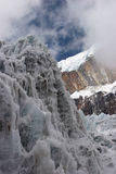 Steep ice wall at glacier tongue, Himalayas. Cho La Col glacier tongue with Nirekha mountain in background. Everest region, Himalaya, Nepal Royalty Free Stock Photography
