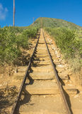 The steep incline of Koko Head Trail. The daunting and extremely steep hiking trail leading to the top of Koko Head Crater on the island of Oahu, Hawaii Stock Photography