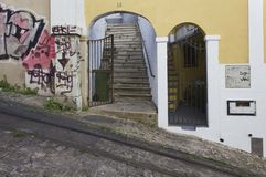 The steep Lavra Street in Lisbon Royalty Free Stock Photo
