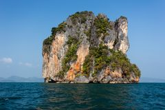 Steep limestone island Stock Photo