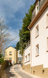 Steep narrow street in Luxembourg stock photo