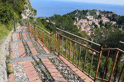 Steep pass above the Sicilian town Taormina Stock Images