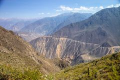 Steep paths Colca Canyon, Peru Royalty Free Stock Photos