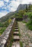 Step path to castle above Old Town of Kotor in Montenegro royalty free stock images
