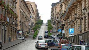 Steep paved town street at Catania Stock Image