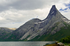 Steep peak in northern Norway Stock Photos