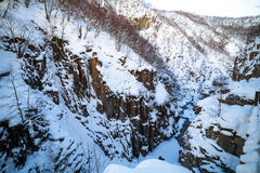Steep River Canyon in the Caucasus Stock Images